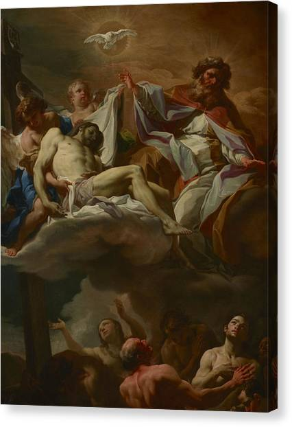 Purgatory Canvas Print - The Trinity With Souls In Purgatory by Corrado Giaquinto