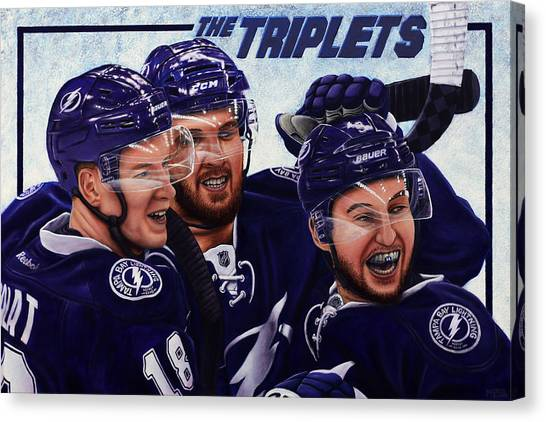 Tampa Bay Lightning Canvas Print - The Triplets by Marlon Huynh