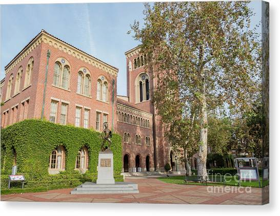 University Of Southern California Usc Canvas Print - The Trojans Statue Of The University Of Southern California by Chon Kit Leong