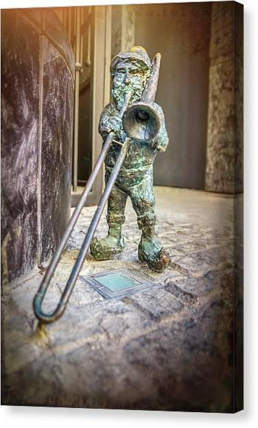 Trombones Canvas Print - The Trombone Player Wroclaw Poland  by Carol Japp