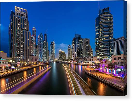 Dubai Skyline Canvas Print - The Twilights Dubai by Vinaya Mohan
