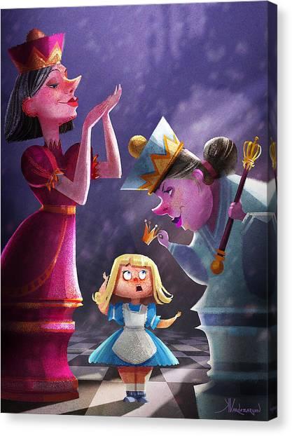 Fairies Canvas Print - The Two Queens, Nursery Art by Kristina Vardazaryan