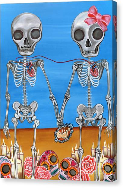 Mustard Canvas Print - The Two Skeletons by Jaz Higgins