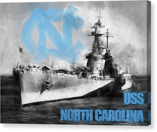 University Of North Carolina Chapel Hill Canvas Print - The U S S North Carolina by JC Findley