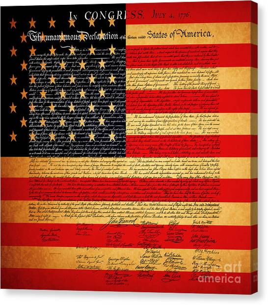 Canvas Print featuring the photograph The United States Declaration Of Independence - American Flag - Square by Wingsdomain Art and Photography