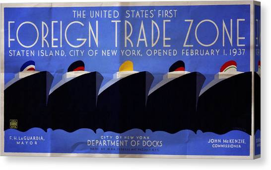 The United States' First Foreign Trade Zone - Vintage Poster Folded Canvas Print