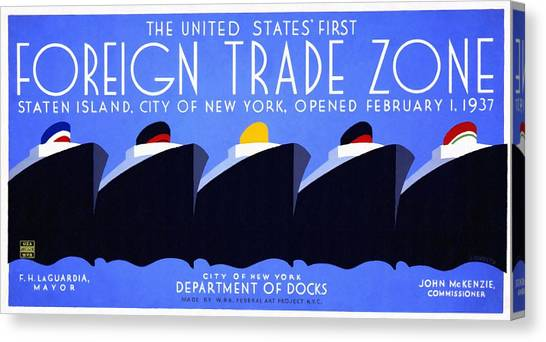 The United States' First Foreign Trade Zone - Vintage Poster Restored Canvas Print