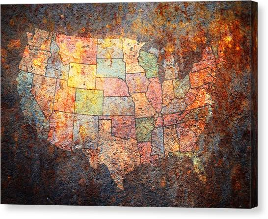 United States Of America Canvas Print - The United States by Michael Tompsett