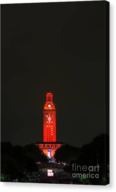 The University Of Texas Canvas Print - The University Of Texas Graduation Ceremony Paints The Ut Tower  by Herronstock Prints