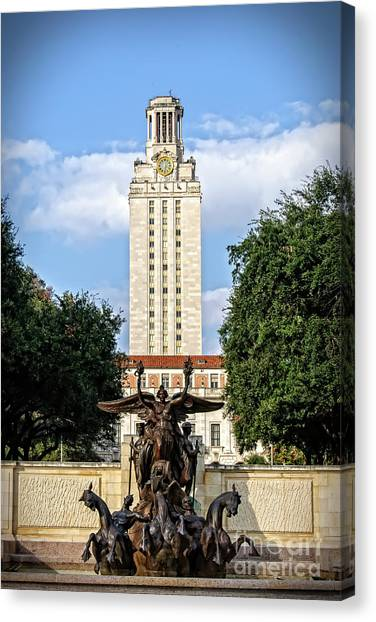 Academic Art Canvas Print - The University Of Texas Tower by Charles Dobbs