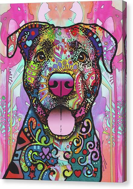 Pitbull Canvas Print - The Unmistakable Pit Bull by Dean Russo Art