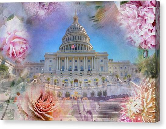 Capitol Building Canvas Print - The Us Capitol Building At Spring by Marianna Mills