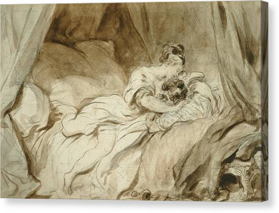 Rococo Art Canvas Print - The Useless Resistance by Jean-Honore Fragonard