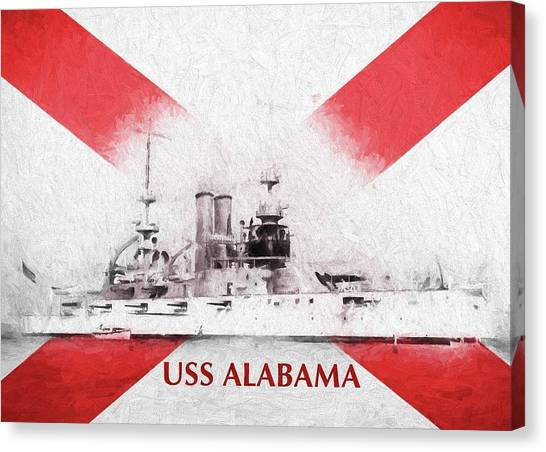 The University Of Alabama Canvas Print - The Uss Alabama Bb-8 by JC Findley