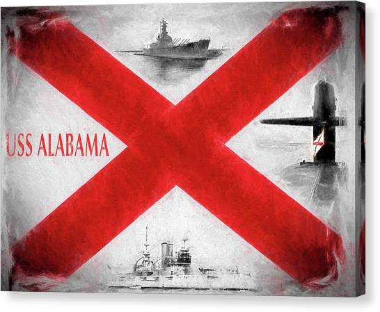 The University Of Alabama Canvas Print - The Uss Alabamas by JC Findley