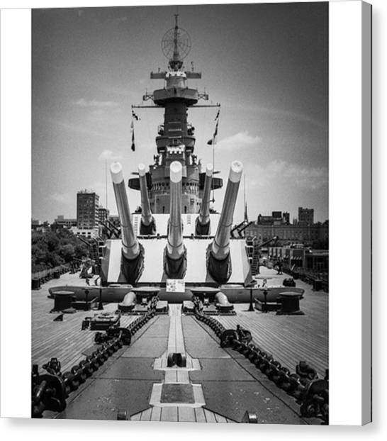 War Canvas Print - The Uss North Carolina In Wilmington by Alex Snay