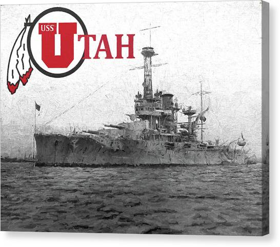 University Of Utah Canvas Print - The Uss Utah by JC Findley