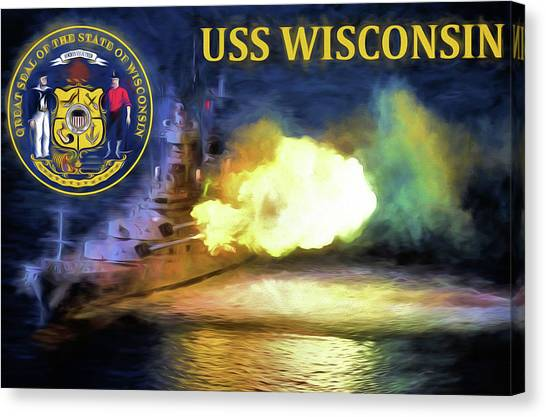 University Of Wisconsin - Madison Canvas Print - The Uss Wisconsin by JC Findley