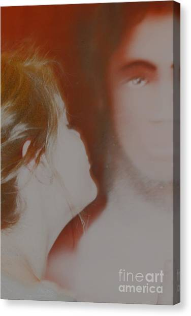 Boy And Girl Kissing Canvas Print - The Vacant Kiss by Terri Thompson