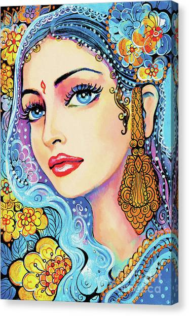 Spiritual Portrait Of Woman Canvas Print - The Veil Of Aish by Eva Campbell