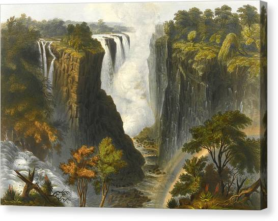 Victoria Falls Canvas Print - The Victoria Falls From Western End Of Chasm  by Thomas Baines
