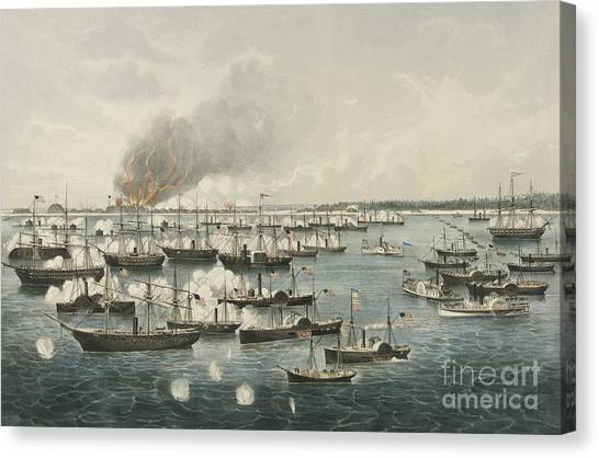 Currier And Ives Canvas Print - The Victorious Attack On Fort Fisher, 1865 by Currier and Ives
