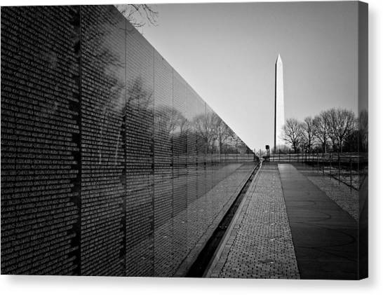 Washington Monument Canvas Print - The Vietnam Veterans Memorial Washington Dc by Ilker Goksen