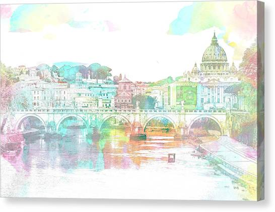 The View From Castel Sant'angelo Towards Ponte Sant'angelo, Brid Canvas Print
