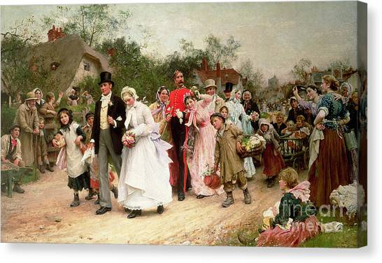 Wedding Bouquet Canvas Print - The Village Wedding by Sir Samuel Luke Fildes