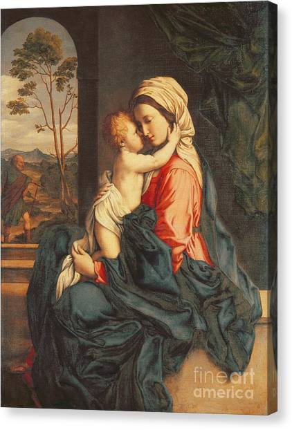 Mary Canvas Print - The Virgin And Child Embracing by Giovanni Battista Salvi