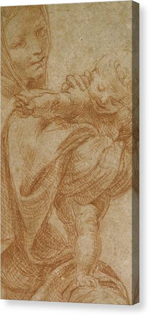 The Christ Ink Drawing Canvas Print - The Virgin And Child by Lodovico Carracci