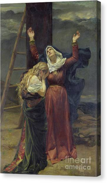 St Mary Canvas Print - The Virgin At The Foot Of The Cross by Jean Joseph Weerts