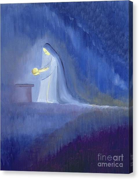 Motherhood Canvas Print - The Virgin Mary Cared For Her Child Jesus With Simplicity And Joy by Elizabeth Wang