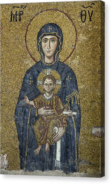 Byzantine Canvas Print - The Virgin Mary Holds The Child Christ On Her Lap by Ayhan Altun