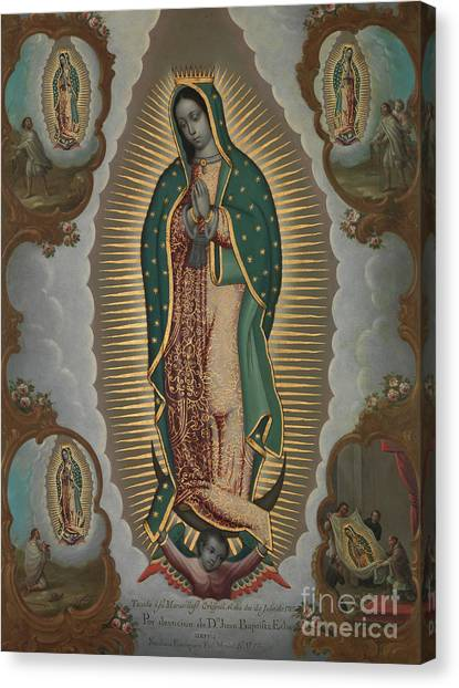 Apparition Canvas Print - The Virgin Of Guadalupe With The Four Apparitions, 1772 by Nicolas Enriquez