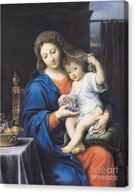 Immaculate Canvas Print - The Virgin Of The Grapes by Pierre Mignard