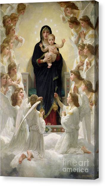 Winged Canvas Print - The Virgin With Angels by William-Adolphe Bouguereau