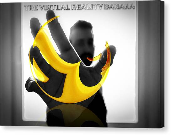 Canvas Print featuring the digital art The Virtual Reality Banana by ISAW Company