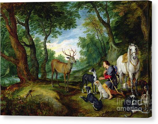 Apparition Canvas Print - The Vision Of Saint Hubert by Brueghel and Rubens