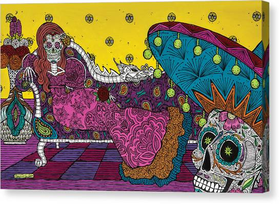Dia Del Muerto Canvas Print - The Visit-la Visita  by Pamela Joy Trow-Johnson