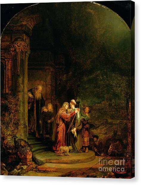 Rembrandt Canvas Print - The Visitation by  Rembrandt Harmensz van Rijn