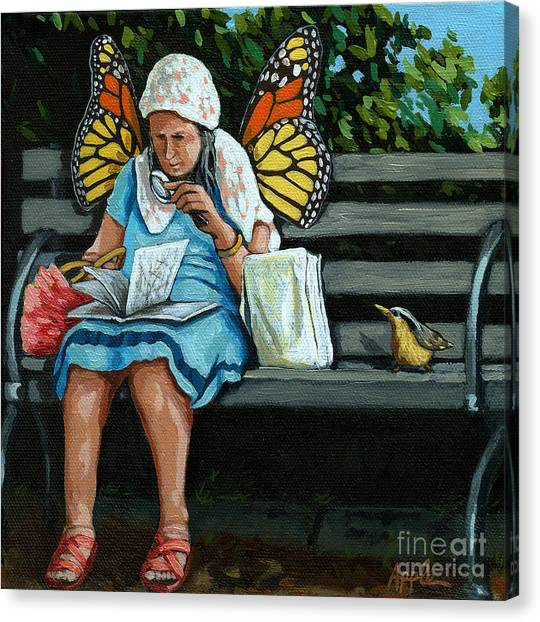 The Visiting Angel - Fantasy Painting Canvas Print