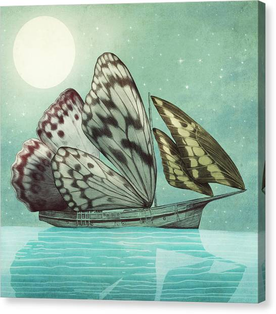 Moon Canvas Print - The Voyage by Eric Fan