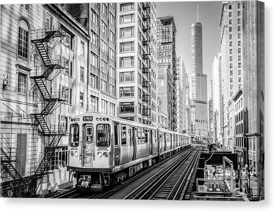 The Wabash L Train In Black And White Canvas Print