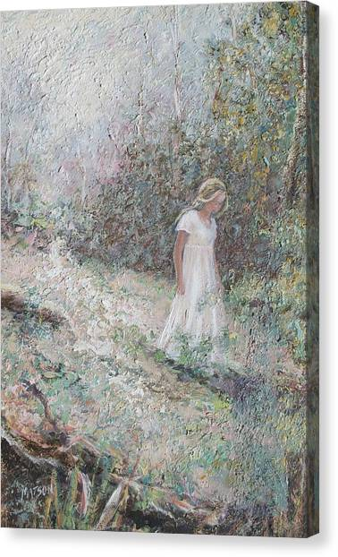 Girl In Landscape Canvas Print - The Waif by Jan Matson