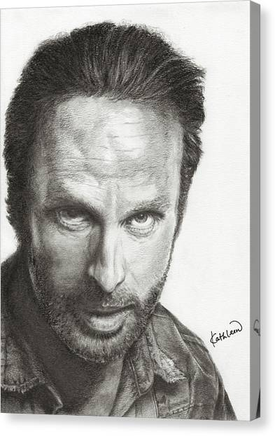 Pencil On Canvas Print - The Walking Dead Rick by Kathleen Wong