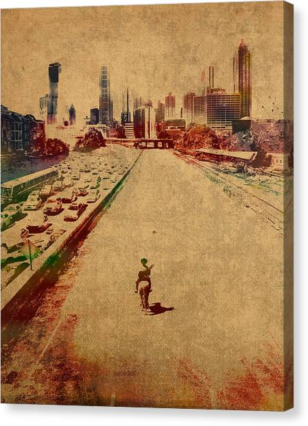 Distressed Canvas Print - The Walking Dead Watercolor Portrait On Worn Distressed Canvas No 2 by Design Turnpike