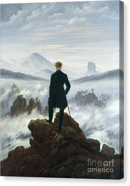 Sky Canvas Print - The Wanderer Above The Sea Of Fog by Caspar David Friedrich