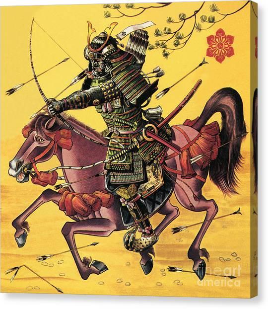 Samurai Canvas Print - The War Lords Of Japan by Dan Escott