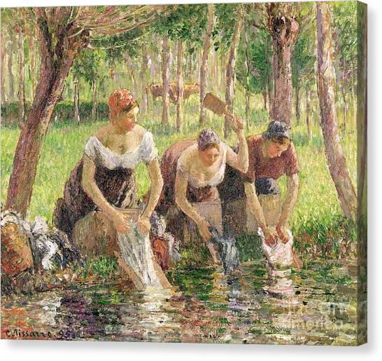 Camille Canvas Print - The Washerwomen by Camille Pissarro